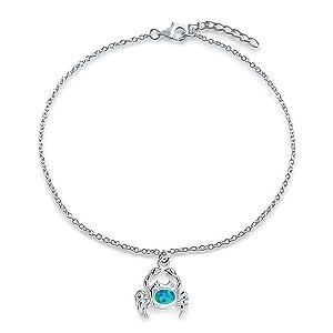 Crab Blue opal Anklet