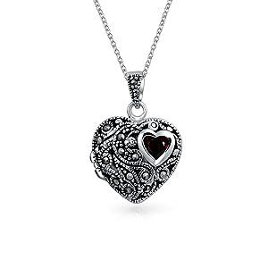 Garnet Marcasite Heart Pendant Necklace