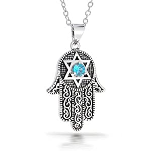 Protection Amulet Evil Eye Hamsa Hand Star Of David Multi Charm Pendant Necklace For Teen For Women 925 Sterling Silver