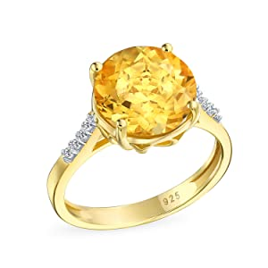 Round Solitaire Citrine Ring Yellow Gold Plated