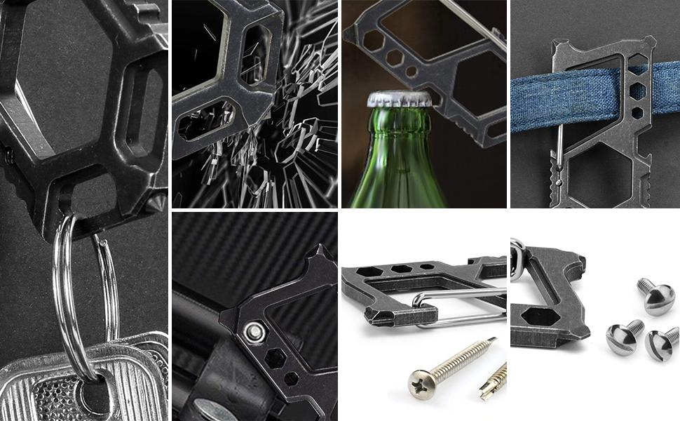 20 In 1 Außenwerkzeug EDC Multi-Tool Gear Carabiner Schlüsselbund Flaschenöffner