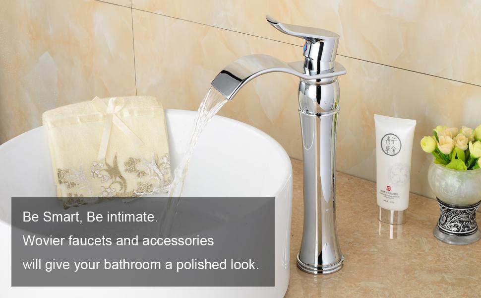 Tall Bathroom Vessel Sink Faucet Single Lever Waterfall: Wovier Chrome Waterfall Bathroom Sink Faucet, Single