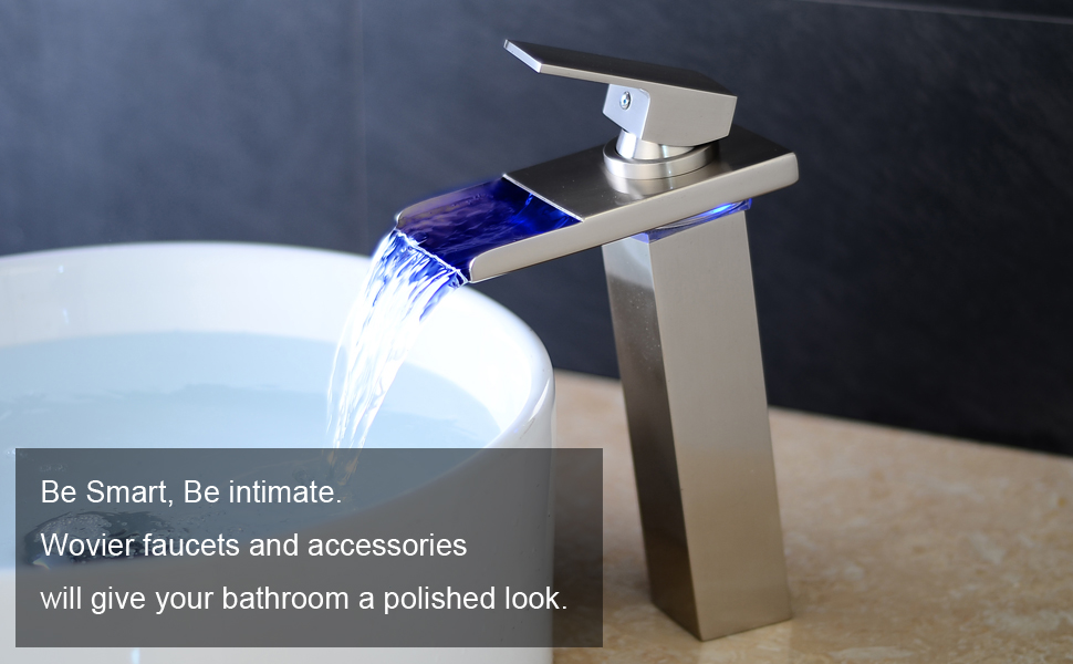 Amazon.com: Wovier LED Water Flow Brushed Nickel Waterfall Bathroom ...