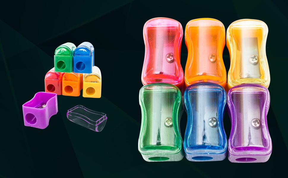3pcs Color al Azar Uteruik Mini Manual Pencil Sharpener Hand Portable Desktop Tool /Útiles Escolares para Estudiantes