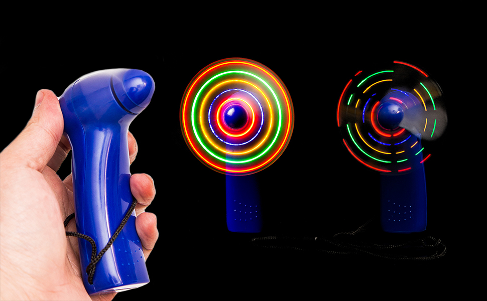2 LIGHTUP SPINNING HAND HELD FAN NECKLACE NEW fans cool light up novelty new