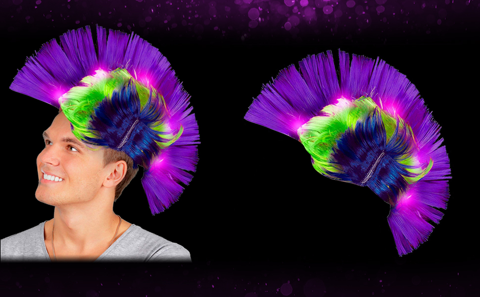 Wig LED Light Up Patriotic Mohawk Wig Headband for Women /& Men New Year Party