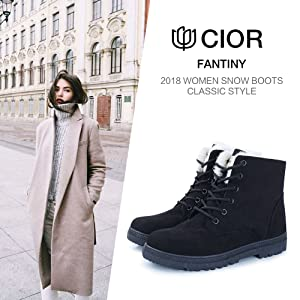 b083725ed CIOR Women's Winter Boots Warm Suede Lace up Snow Boots 2018 Waterproof PU  Shoes
