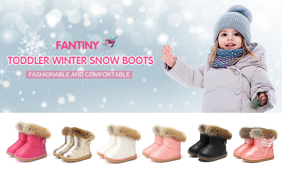 22526cd4a CIOR Fantiny Toddler Girl's Winter Snow Boots Fur Outdoor Slip-on Warm Boots