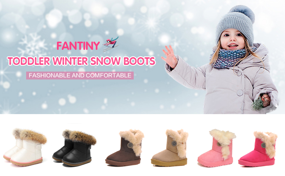 d699ac3b8 CIOR Toddler Snow Boots for Girls Boys Winter Warm Kids Button Boots  Outdoor Shoes