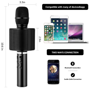 Wireless Bluetooth Karaoke Microphone, Mbuynow TWS Portable Handheld Kids  Karaoke Mic Mother's Day gift with Speaker Phone Holder for Kids Adults  Home