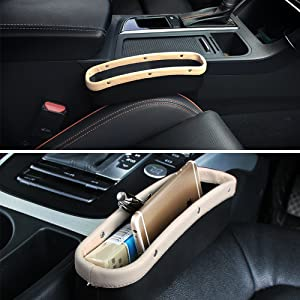 Power Tiger CAR ACCESSORIES Car Seat Pockets PU Leather Console Side Organizer Gap Filler