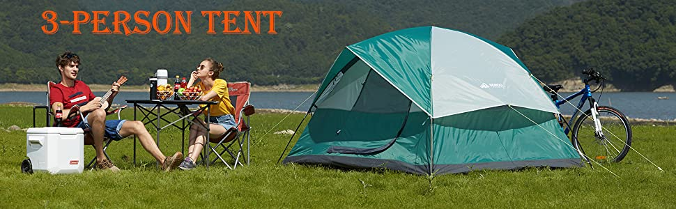 3 person green tent