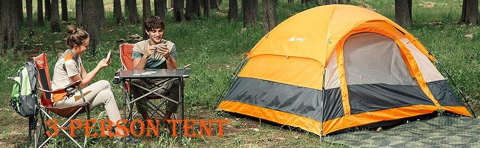 3 person orange tent