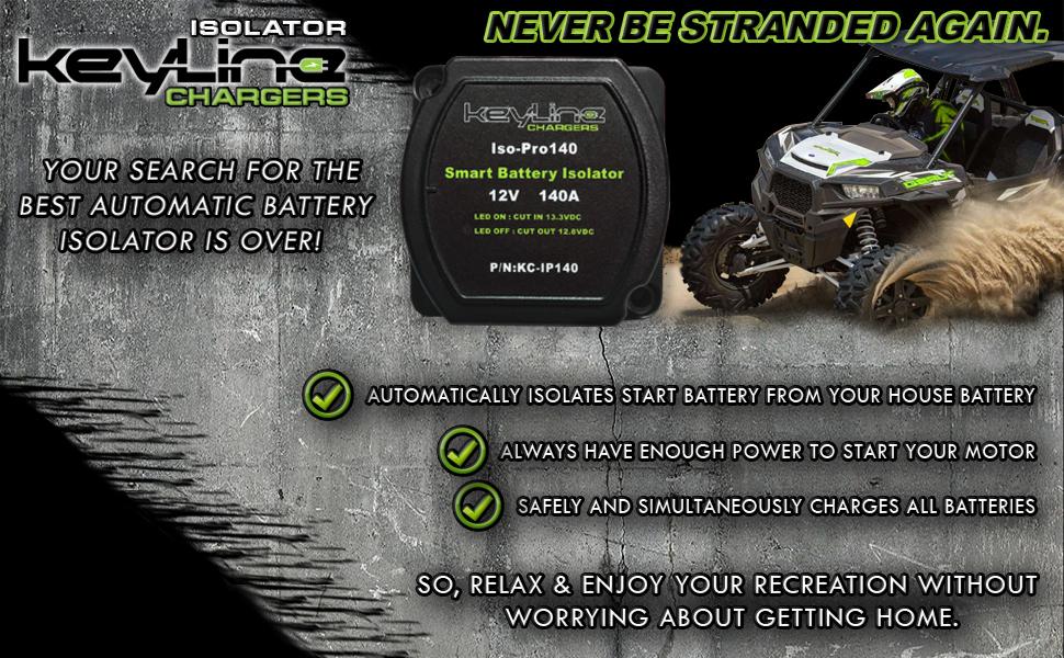 keyline smart battery isolator 140k pro house battery start battery auxiliary battery automatic