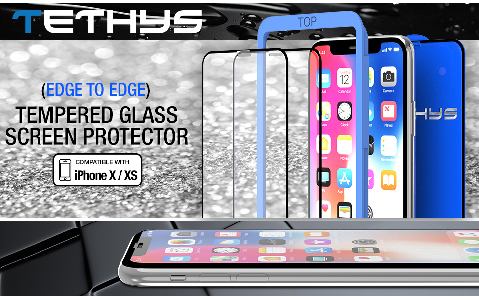 Tethys iPhone X / XS Tempered Glass Screen Protector Edge to Edge Full Framed