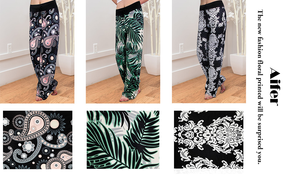 3bb2809be69 Aifer Women Casual Comfy Chic Floral Lounge Drawstring Palazzo Long Wide  Leg Pants