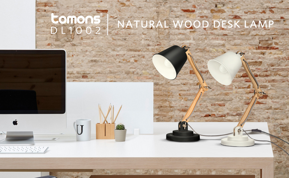 Amazon Com Tomons Desk Lamp Natural Wood Table Lamp Reading