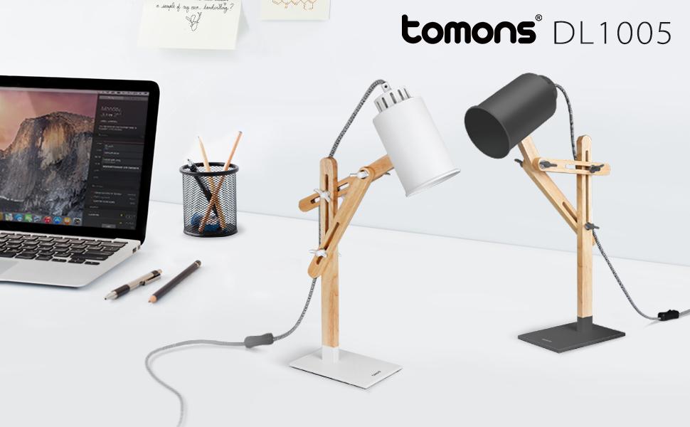Tomons Led Desk Lamp Wooden Multi Angle Swing Arm Designer
