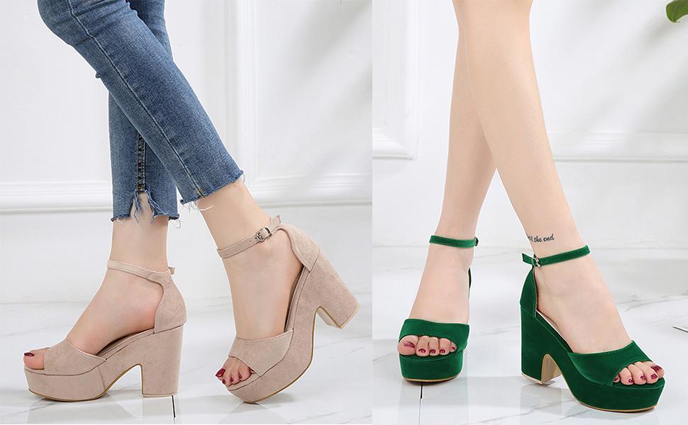 fbb20e8cc Women s Ankle Strap Heels Sandals Peep Toe Stiletto Pumps Party Dress Shoes  · Classic Studded Strappy Pumps Rivets High Heels Stiletto Sandals T-Strap  Shoes ...