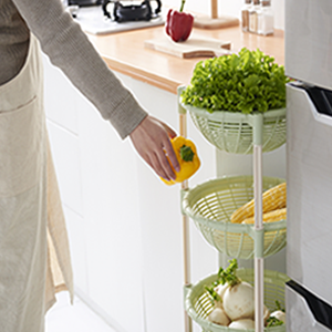 Everything in easy reach with stacking baskets for organization and storage