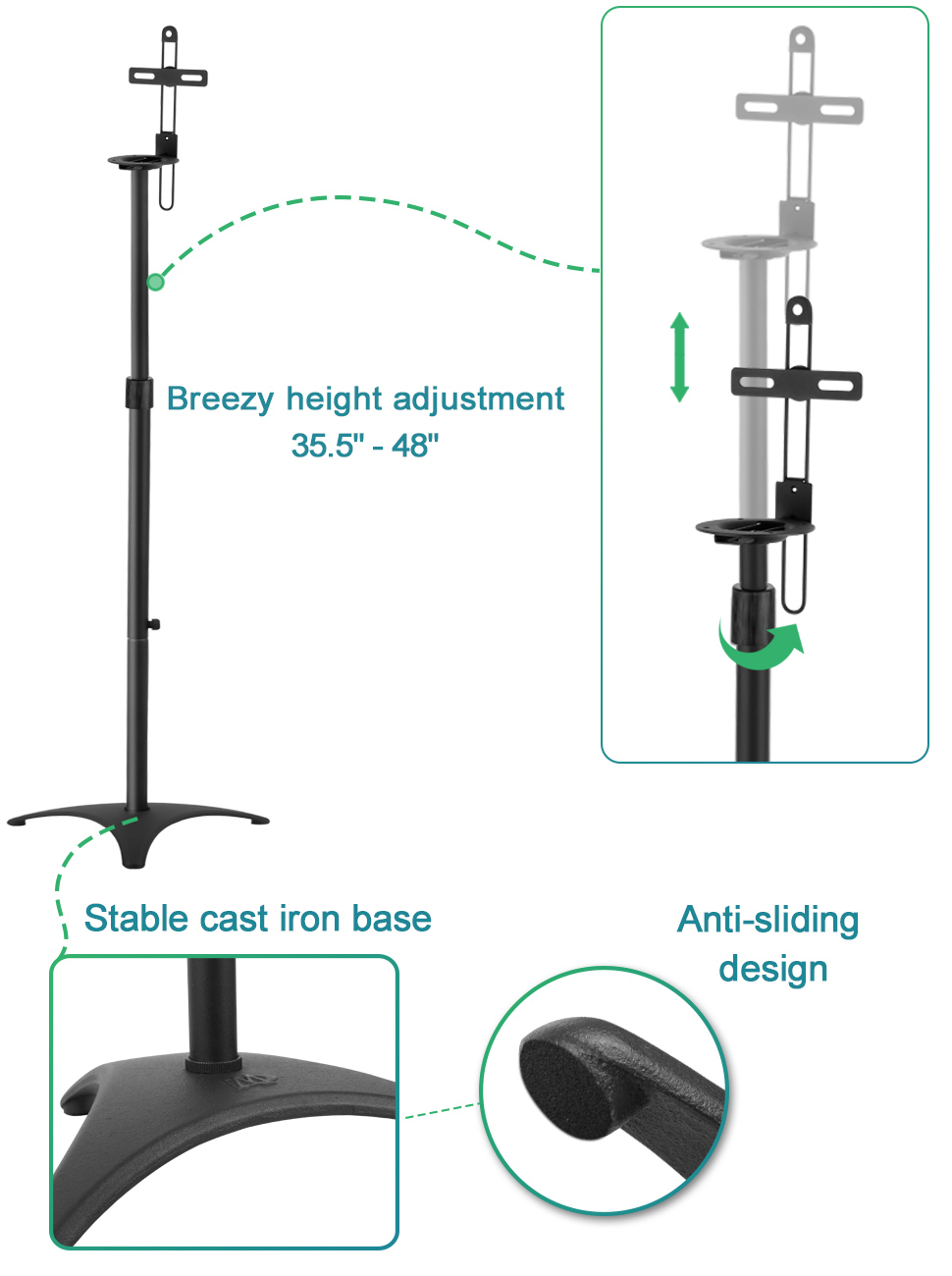 Mounting Dream Md5401 Height Adjustable Speaker Stands Figure Diagram Showing The Placement Of Surround Sound Speakers Stand