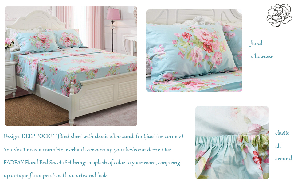 Fadfay Shabby Pink Floral Bed Sheet Set 100 Cotton Deep Pocket 4 Piece Twin Size Home Kitchen