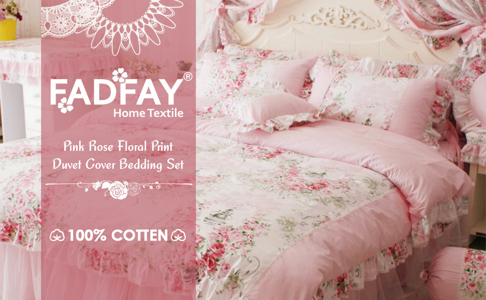 The Bedding Set Includes 1 Duvet Cover, 1 Bed Skirt, And 2 Shams. Made From  100% Cotton Fabric With Fancy Lace And Sheer For Added Softness, ...
