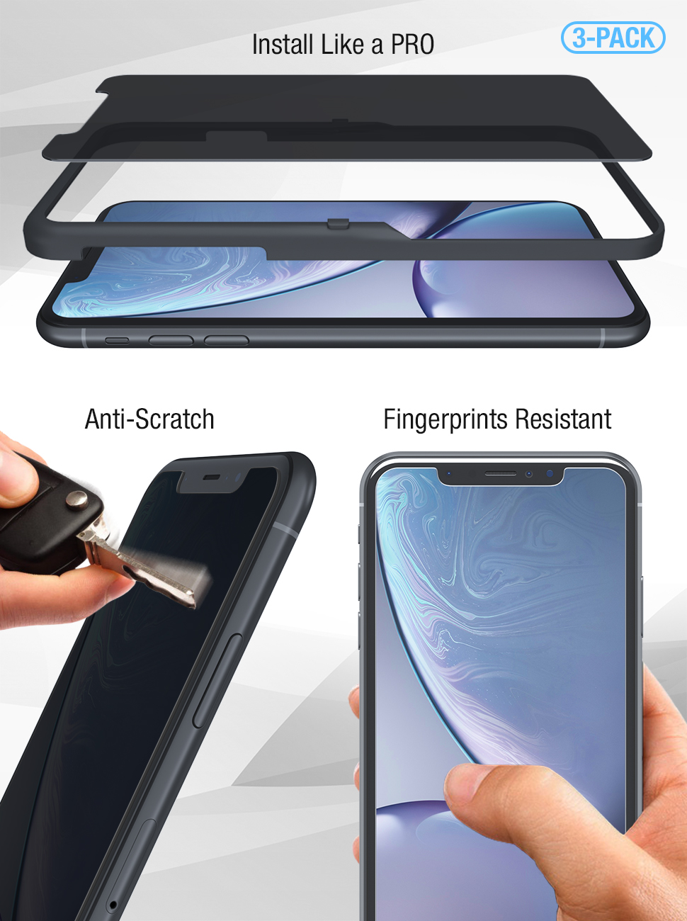 FlexGear iPhone XR Privacy Glass Screen Protector [New Generation] Designed for iPhone XR tempered
