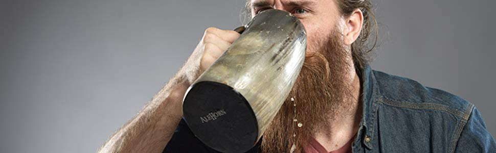 Viking Cup Drinking Horn Tankard - Authentic Medieval Inspired Mug (Wood Bottom)