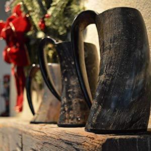 Nordic Drinkware Viking Drinking Horn Set with Leather Belt & Shoulder Strap