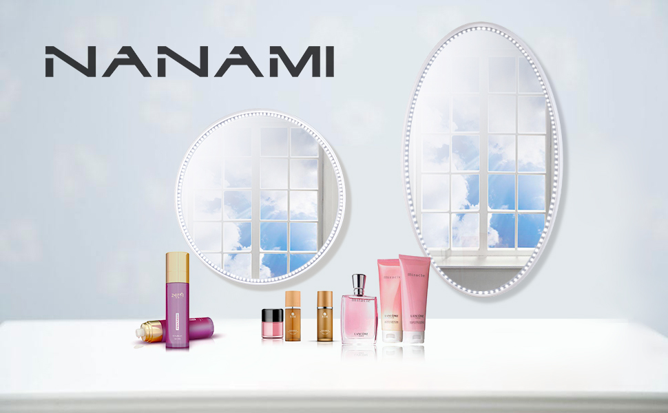 nanami makeup vanity mirror with light lighted mirror with dimmer led illuminated. Black Bedroom Furniture Sets. Home Design Ideas