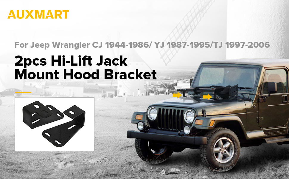 Kratosaxe Jack Mount Hood Bracket Fit for 1944-2006 Jeep Wrangler CJ//YJ//TJ