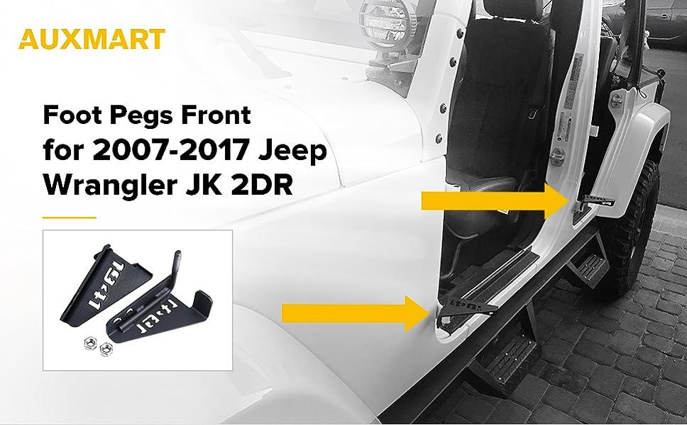 AUXMART Front Foot Pegs for 2007-2017 Jeep Wrangler JK & Amazon.com: AUXMART Foot Pegs Front for 2007-2017 Jeep Wrangler JK ...