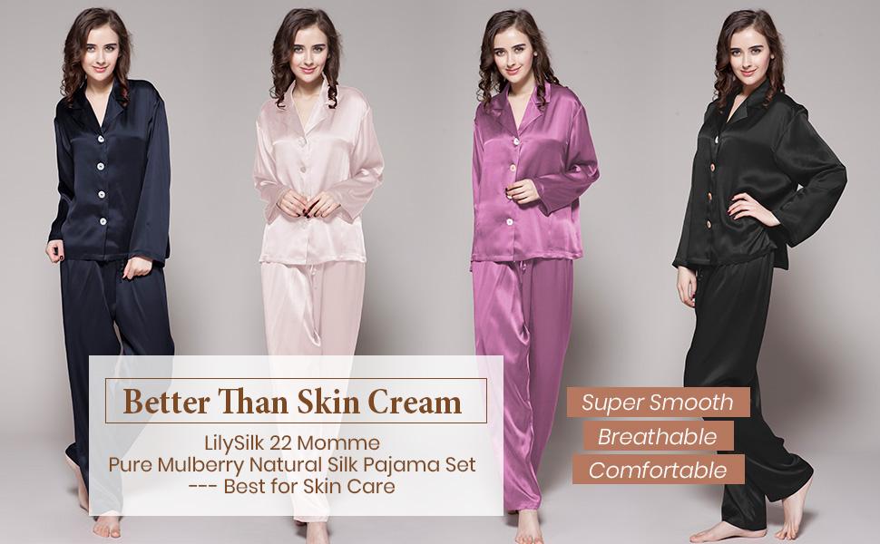 feb5b124f1 LilySilk Women s Mulberry Silk Pajama Set Long Full Length Ladies 22 ...