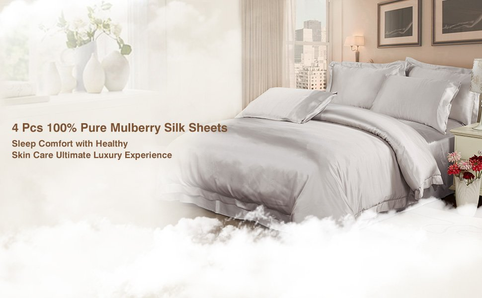 4 Pcs Silk Bedding Set ALL MADE By 100% Pure Mulberry Silk