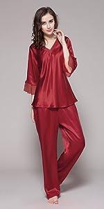 9648cbdd46cf LilySilk Women s 100 Pure Silk Camisole Pajama Set Long Sleeveless ...