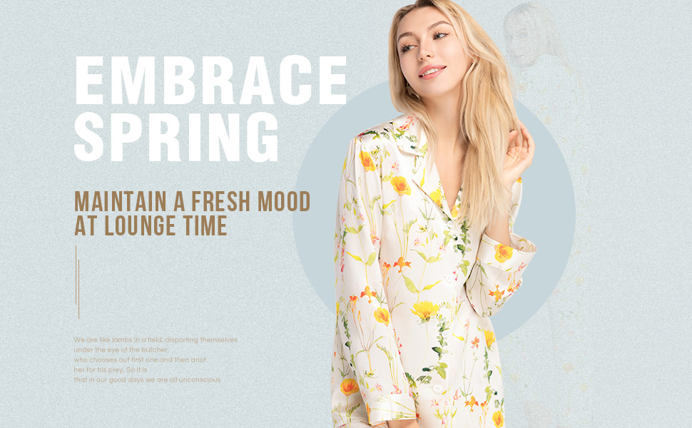 64355d6ca9 LilySilk Silk Pajamas for Women Pure Mulberry Blossom Floral Print ...