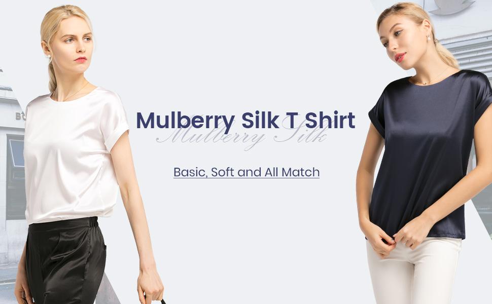 3d84a1fdd3 LilySilk Silk T Shirt for Women Short Sleeves Round Neck Pure ...