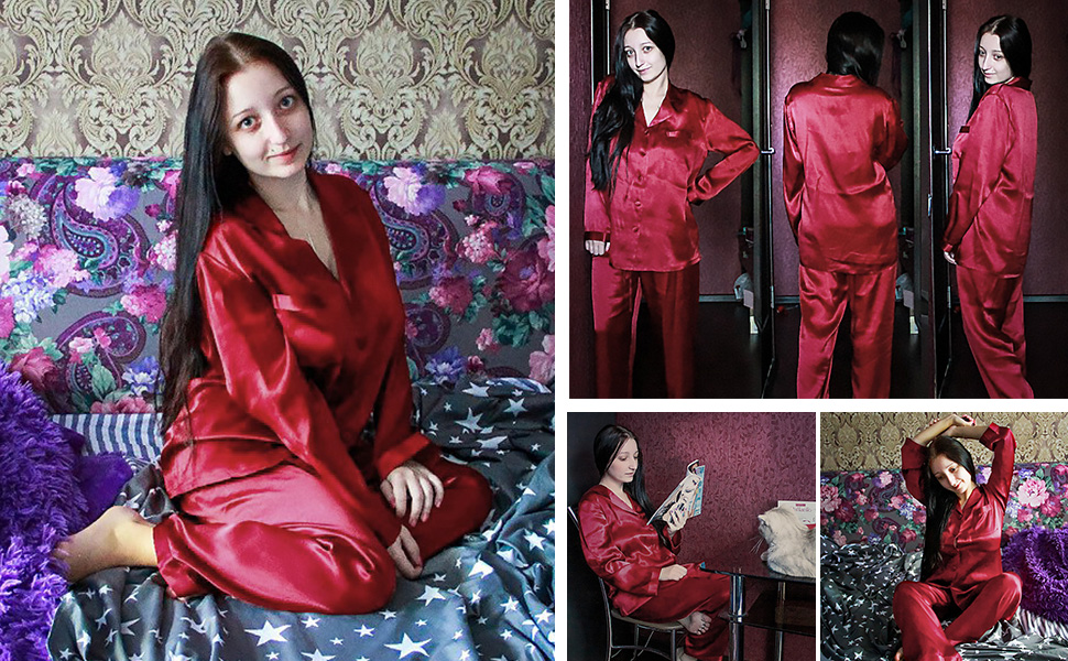 536ad1bf26 LilySilk Silk Pajamas for Women Comfy Two Piece Set Long Sleeve 16 ...