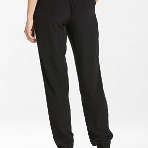 fa5544e1a LilySilk Women s Silk Pants 18MM Black Elastic Waist Long Trousers ...