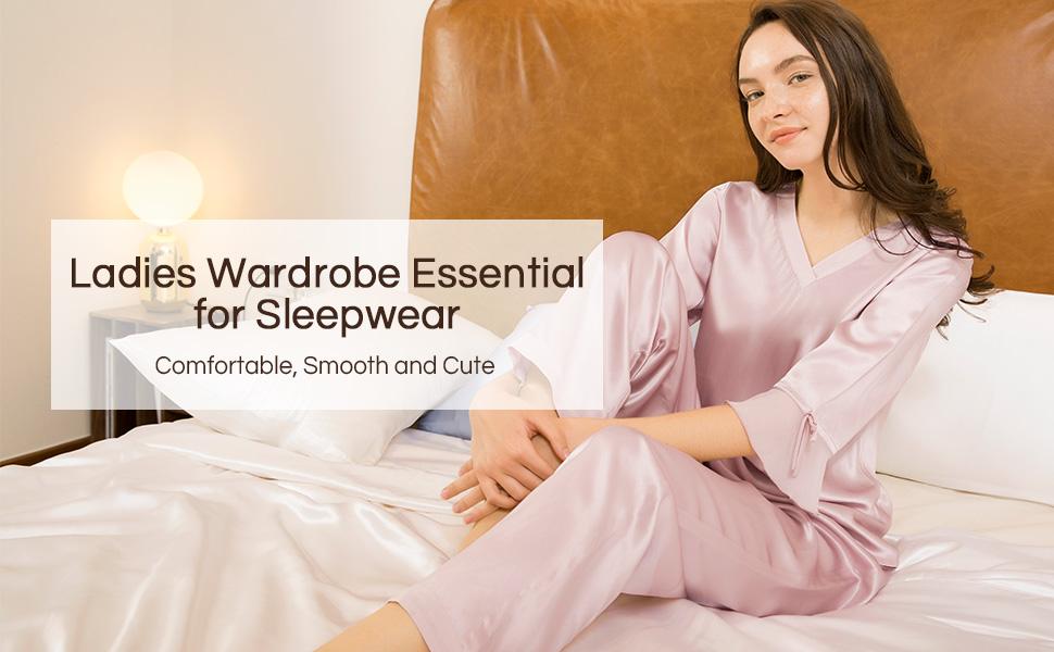c4c8e01ca3 LilySilk Women s 100% Pure Silk Pajamas Set V Neck 3 4 Long Sleeve ...