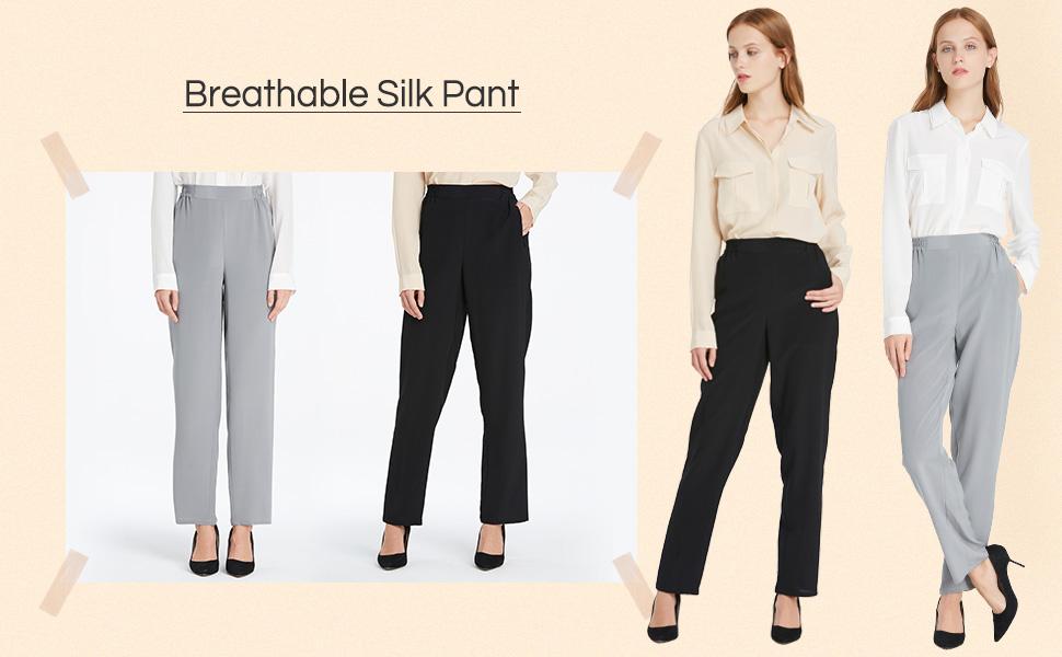 d2d745a14e LilySilk Women Silk Long Pants Bottoms 18MM Elastic Waist Daily Soft ...
