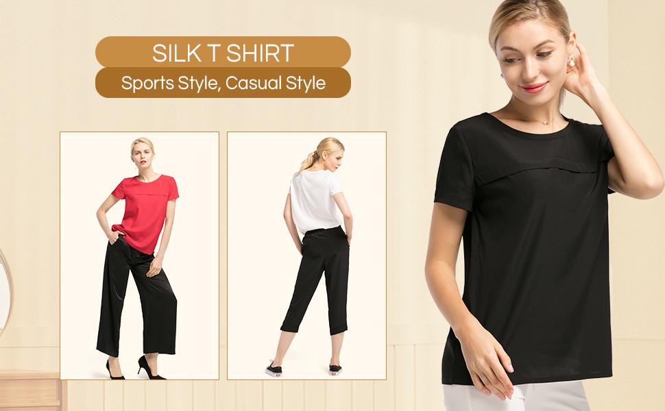 a5e42a1812 LilySilk Silk T Shirt Blouse for Women Short Sleeve Casual Round ...