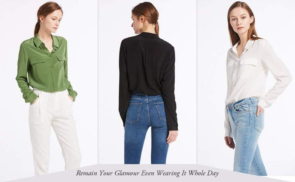 9b2fda20f8f703 LilySilk Women's 100% Silk Blouse Long Sleeve Ladies Shirts 18 Momme ...