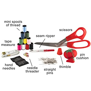 scissors thread needles tape measure thimble pincushion seam ripper thread spools sewing quilting