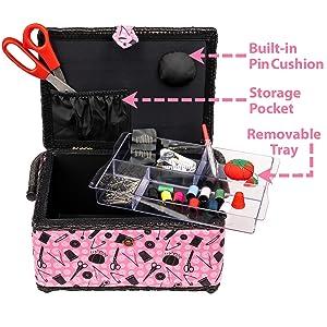 singer sewing basket scissors thread thimble seamstress tailor seam ripper tape measure pins