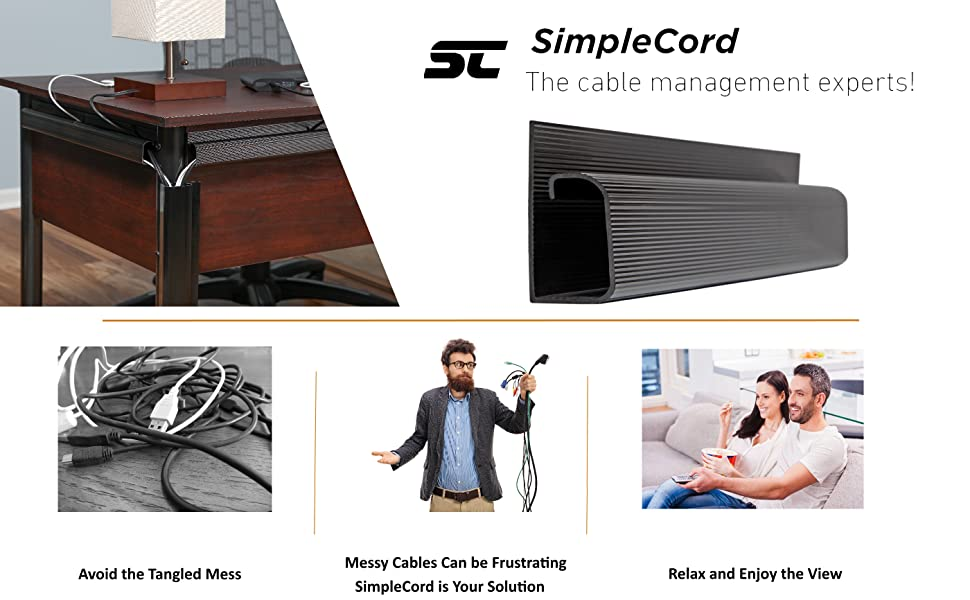 SimpleCord J Channel Cable Raceway Cables Cords Wires Hide Tidy officeProtect Desk Desks Computer