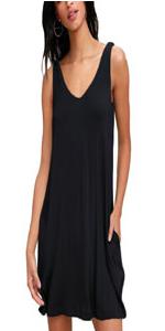 Sleeveless Pockets Dresses