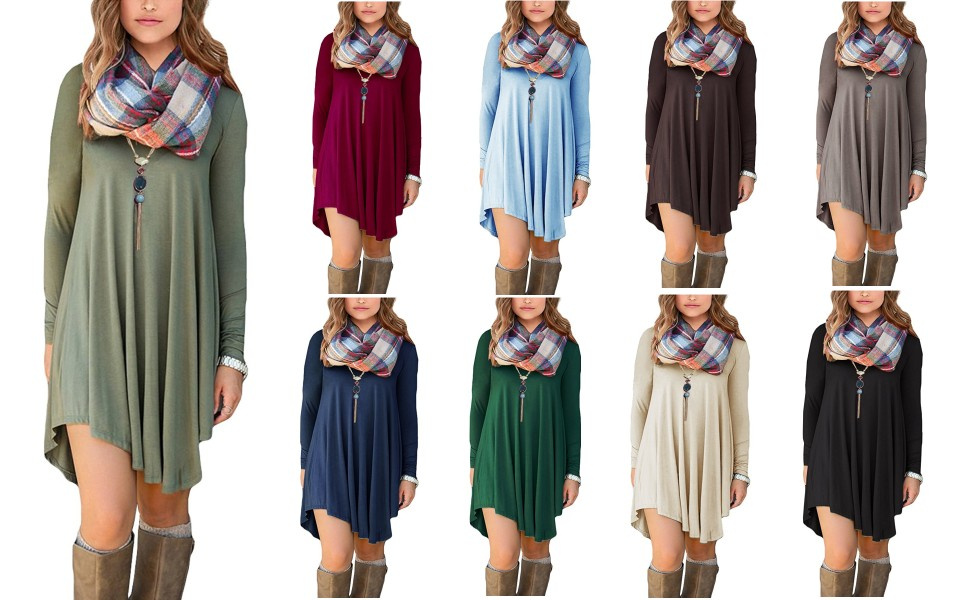 f19f97e4d3 DEARCASE Women s Long Sleeve Casual Loose T-Shirt Dress at Amazon ...