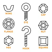 nut hex cap eye flange square wing hook